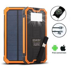 SOLAR BATTERY CHARGER COMPATIBLE WITH ANY DEVICE: This 12000mAh solar battery charger with dual USB ports (universal 5V/1A and 5V/2.1A outputs) allows easy charging for any Smartphone, camera or even tablet. The 1A port works great for phone, Bluetooth or other 5V USB supported devices while the 2.1A port is suitable for iPad and Tablets. Note also that this innovative solar charger features automatic smart identification, for even greater convenience.