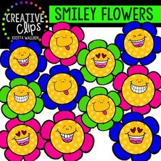 Enjoy these FREE smiley flowers! Thank you for supporting Creative Clips and keeping me motivated to keep creating! The images will have high resolution, so you can enlarge them and they will still be crisp. All images are in png formats so they can easily be layered in your