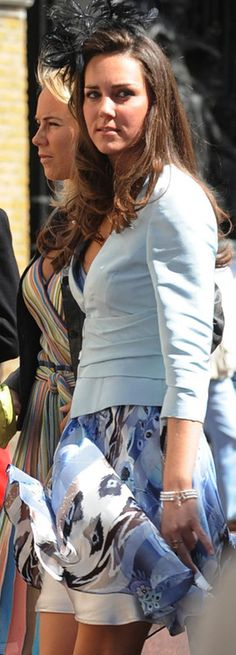 Kate Middleton at the wedding of Lady Rose Windsor and George Gilman at the Queen's Chapel, St James' Palace, July 19, 2008.