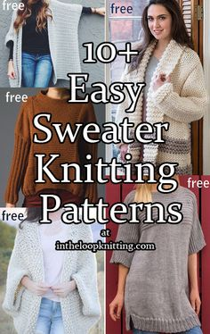 Easy Knitting Patterns for Sweaters - Pullovers and Cardigans. Most patterns are free knitting for beginners knitting ideas knitting patterns knitting projects knitting sweater Easy Sweater Knitting Patterns, Knit Cardigan Pattern, Lace Knitting, Knit Patterns, Knitting Stitches, Knit Crochet, Knitting Sweaters, Knitting Ideas, Free Knitting Patterns For Women
