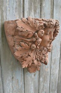 Attractive Beautiful Folliated Art Nouveau Lady Head Terracotta Wall Planter Plant Pot  Fan2