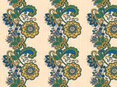 """Japano-paisley II"" by momotaro HopeFull, Japan, blue, dark purple, deep green, eggshell white, green, indigo blue, orange, paisley"
