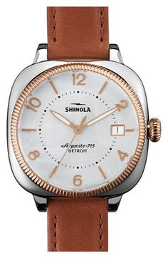 Shinola 'Gomelsky' Square Moon Phase Leather Strap Watch, 36mm available at #Nordstrom