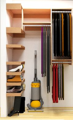 Bigger than a reach-in, too small for a walk in, this new closet organizer design for my coat closet should help satisfy it's many uses. ...