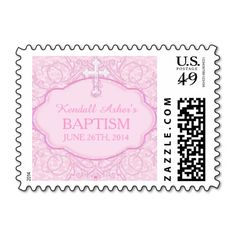 Pink Cross Baptism Stamp