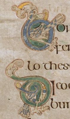 Two illuminated letters with funny birds - p. 126 - Book of Kells online from Trinity College Dublin http://digitalcollections.tcd.ie/home/index.php?DRIS_ID=MS58_003v