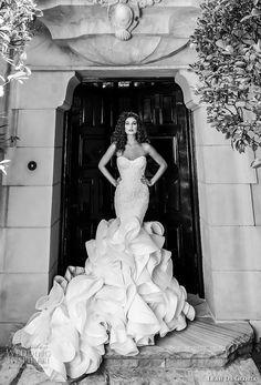 leah da gloria 2017 bridal strapless sweetheart neckline heavily embellished bodice ruffled skirt elegant glamorous mermaid wedding dress chapel train (vera) mv