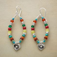 "MULTIMIX HEART HOOPS -- Vibrant gemstones of carnelian, green onyx, coral, olive jade, turquoise, with red and green aventurine dotted with sterling silver beads make a colorful hoop for a sweet heart charm. French wires. Handmade in USA exclusively for us. 2-1/4""L."