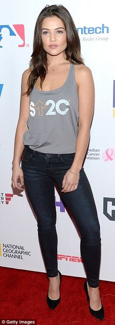 Strike a pose: Actress Danielle Campbell hit the carpet in skinny dark wash denim - a look Odette Annable also opted for