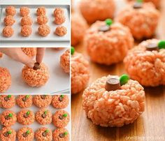These rice krispie treat pumpkins are ADORABLE and they're really easy to make! They'd be perfect for a Halloween party snack, or even Thanksgiving! (school snacks for kids rice krispies) Halloween Party Snacks, Halloween Desserts, Hallowen Food, Snacks Für Party, Spooky Halloween, Party Appetizers, Halloween Potluck Ideas, Halloween Treats To Make, Halloween Appetizers