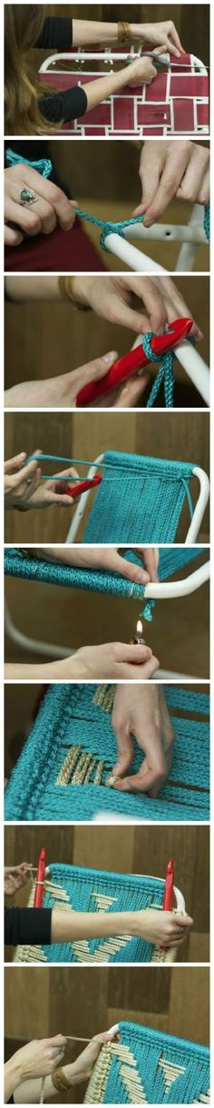 DIY Macrame Lawn Chair | Crafts and Craft Project Ideas | Simple Craft Projects using Recycled Materials at pioneersettler.com by john