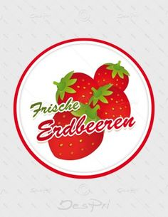 Aufkleber - Frische Erdbeeren, rund, A-FP-0002A | Gastronomie | Aufkleber | Werbedesigns | Despri