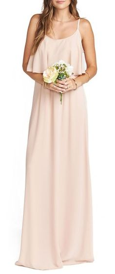 Show Me Your Mumu Caitlin Cold Shoulder Chiffon Gown in Dusty Blush Crisp @ Nordstrom Neutral Bridesmaid Dresses, Bridesmaid Dresses Online, Boho Bridesmaids, Wedding Dresses, Cocktail Dresses With Sleeves, V Neck Cocktail Dress, Blush Gown, A Line Gown, Chiffon Gown