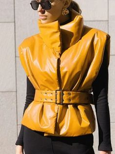 #Fall2021collection #Falloutfits #Fallcollection #FallWear #Autumnwear #fashionintrend #womenfashion #Expressyourself #autumncollection #auntumndress $132.00 $66.28 Cute Fall Outfits, New Outfits, Summer Outfits, Yellow Fashion, Fashion Colours, Vest Jacket, Hooded Jacket, Leather Vest, Types Of Collars