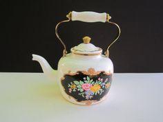English Tea Pot Steel Baked Enamel Finish Teapot by GOSHENPICKERS, $15.00