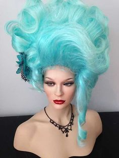 Drag Queen Wig, Big, Tall, Up Do, Light Ice Teal Blue Lt. Tips, Tendril, Curls