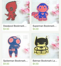 Super Heros are HEREEEEE!!! Go check them out! We decided to go for these four for now but we do custom orders so if your favorite is not there just ask for it! Also all Super Hero bookmarks are laminated and they look awesome!!! Happy Weekend!! #etsy #bookmark #superhero #batmanvsuperman #deadpool #superman #spiderman #batman #bookstagram #gifts #giftidea #pixelstudioshop #cute #shop #deal #coupon