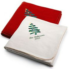 Embroidered Holiday Tree Fleece Blankets , Add a Monogram, Name or Initials