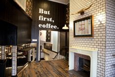 Subway tile gives clean, uncluttered look. Cool sign over door - Obsessed with white subway tile and black grout for a bakery/restaurant.