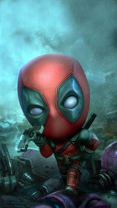 Cute Deadpool, Deadpool Pikachu, Deadpool Art, Deadpool Movie, Baby Spiderman, Baby Avengers, Spiderman Art, Chibi Spiderman, Deadpool Wallpaper