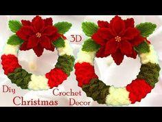 Como hacer corona de Navidad marshmallows y flores Nochebuena a Crochet 3D tejido tallermanualperu - YouTube