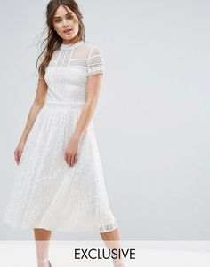 Frock and Frill High Neck Lace Midi Dress with Bead Detail Lace Midi Dress, White Dress, 1950s Inspired Fashion, Inexpensive Wedding Dresses, Frock And Frill, Short Sleeve Dresses, Dresses With Sleeves, Luxe Wedding, Fashion Company
