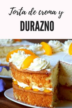 Peaches and Cream Cake Recipe - Easy Dessert made of Soft layers of Sponge Cake with Chunky Peach Preserve and lightly sweetened Whipped Cream. Roasted Almonds add a nice pleasant crunch for a textural contrast. Dessert Simple, Easy Desserts, Dessert Recipes, Asian Cake, Peach Syrup, Round Cake Pans, Sponge Cake, Cakes And More, Let Them Eat Cake