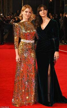Bond beauties: Lea Seydoux and Monica Bellucci put on a stunning show as they arrive at th...