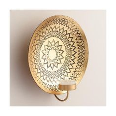 Cost Plus World Market Kalini Antique Brass Medallion Sconce (49 SAR) ❤ liked on Polyvore featuring home, lighting, wall lights, cost plus world market, antique brass lamp, antique brass lighting, antique brass wall sconce and wall-mount lamp