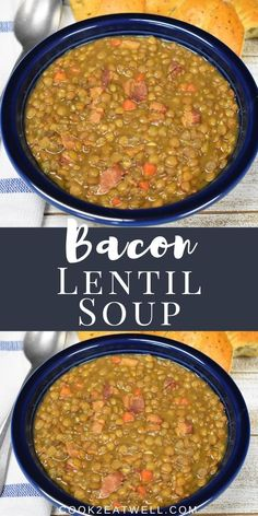 This bacon and lentil soup is easy to make and delicious. This soup is great for weeknights since lentils cook up pretty quick; by bean standards. Lentil And Bacon Recipes, Lentil Bean Recipe, 9 Bean Soup Recipe, Lentil And Bacon Soup, Homemade Lentil Soup, Easy Bean Recipes, Easy Lentil Soup, Vegan Recipes, Chowder Recipes