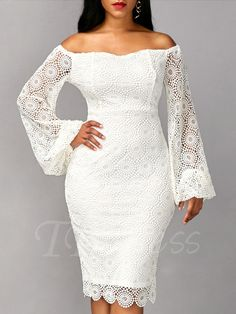 Tbdress.com offers high quality White off Shoulder Bell Sleeve Women's Lace Dress Lace Dresses unit price of $ 27.99.