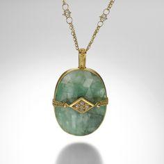 Emerald and Diamond Necklace by Amali @quadrum
