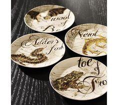 Spell Salad Plate, Set of 4 #potterybarn for halloween kitchen wall decor
