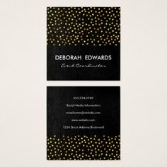Exquisite Faux Leather Golden Specks Square Business Card - makeup artist gifts style stylish unique custom stylist
