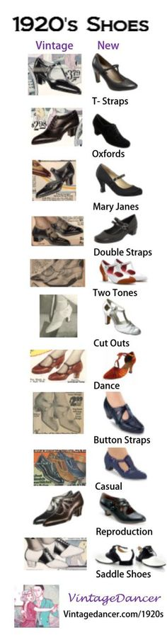 Vintage 1920s shoes and new 1920s style shoes compared. Learn about all the styles of 1920s fashion shoes. Vintagedancer.com