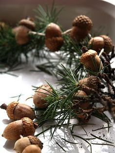 evergreen and acorn garland....