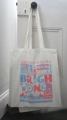 Brighton City Typographic Cotton Tote Bag