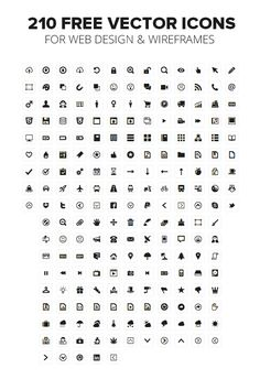 210 FREE VECTOR ICONS FOR WEB DESIGN & WIREFRAMES #icons