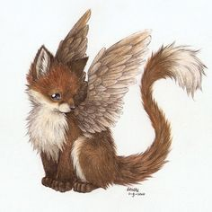Art trade with Noyii by Liedeke. on - Drawings - Fantastical Creatures Cute Creatures, Magical Creatures, Cute Drawings, Animal Drawings, Fox Art, Mythological Creatures, Creature Design, Fantasy Art, Fantasy Images