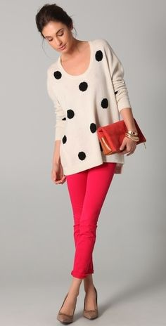 Oversized polka dot sweater with red skinnies - I don't even mind cropped length here!