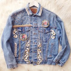 Working on my jacket today the backs the best bit! Haute Couture Outfits, Couture Clothes, Denim Jackets, Jean Jackets, Blue Jeans, Denim Jeans, Jean Crafts, Embroidery On Clothes, Baroque Fashion