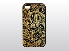 Paisley iPhone Case - Black and Gold