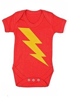 604083c90 Baby Moo s Superhero Bolt - Body de manga corta unisex con estampado de  relámpago Talla