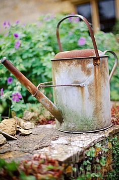 old, rusty and beautiful watering can..I collect these.. Sometimes you paint them, sometime you throw some twigs or plants in them..