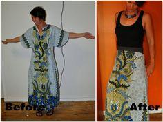 Kaftan Refashion.  I'm loving this skirt.