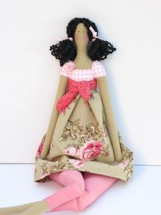 Pretty fabric doll in lovely rose dress