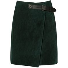Reiss Chase Suede Mini Wrap A-Line Skirt, Forest Green ($290) ❤ liked on Polyvore featuring skirts, mini skirts, short skirts, a-line skirt, high-waisted skirts, high waisted a line skirt and short a line skirt