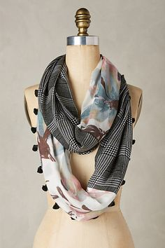 """Sevilla Infinity Scarf #anthropologie (80""""L, 17""""W) Make something similar with tie-dye/marble turquoise fabric and solid teal?"""