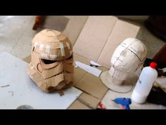 #75: Stormtrooper Helmet DIY Part 1 - Cardboard, Face, Jaw, Chin (free template) - YouTube