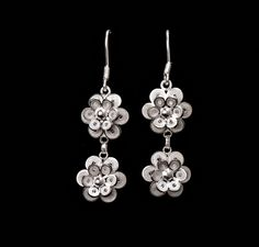 Silver filigree earrings for pierced ears. Our filigree earrings are made from silver threads that are woven, coiled, and twisted to generate beautiful pieces of art. Filigree Jewelry, Filigree Earrings, Silver Filigree, Diamond Earrings, Wildflowers, Ear Piercings, Quilling, Flora, Art Pieces